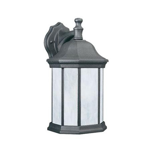 HAWTHORNE 14in One-light fluorescent die-cast aluminum outdoor wall lantern in Black finish with etched glass PL94627