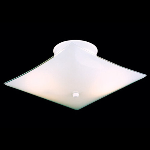 Two-light square ceiling style in white bent glass. SL123