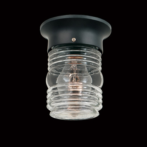 One-light outdoor ceiling fixture in Black finish with clear glass. SL3037