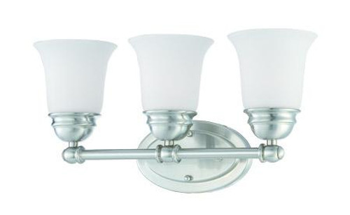Bella 9in Three-light bath fixture in Brushed Nickel finish with etched glass SL714378