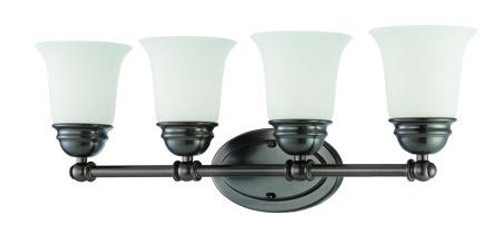 Bella 9in Four-light bath fixture in Oiled Bronze finish with etched glass. SL714415