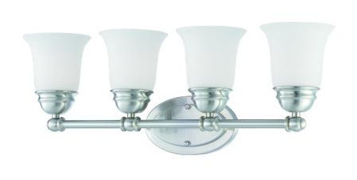 Bella 9in Four-light bath fixture in Brushed Nickel finish with etched glass. SL714478