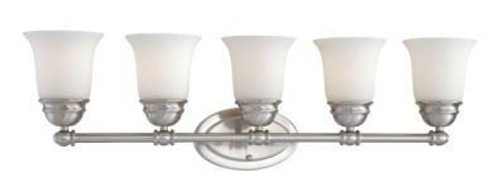 Bella 9in Five-light bath fixture in Brushed Nickel finish with etched glass. SL714578