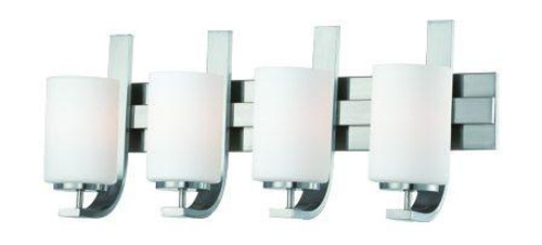 Pendenza 11.5in Four-light bath fixture in Brushed Nickel finish with etched glass. SL715478