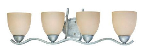 Four-light bath fixture in Moonlight Silver finish with tea stained glass. SL717472