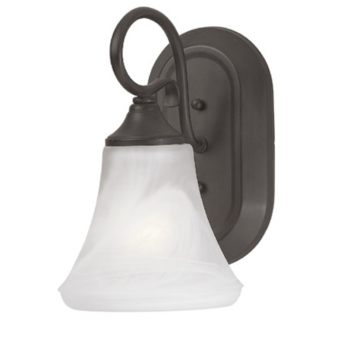 One-light bath or wall sconce in Painted Bronze Finish with swirl alabaster style glass. SL744163