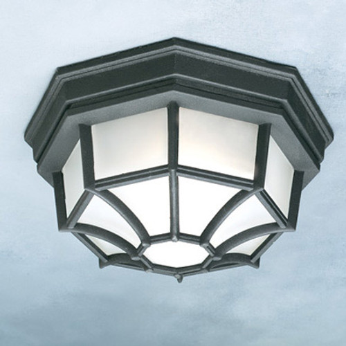One-light die-cast aluminum outdoor ceiling fixture in Black finish with frosted glass. SL7457