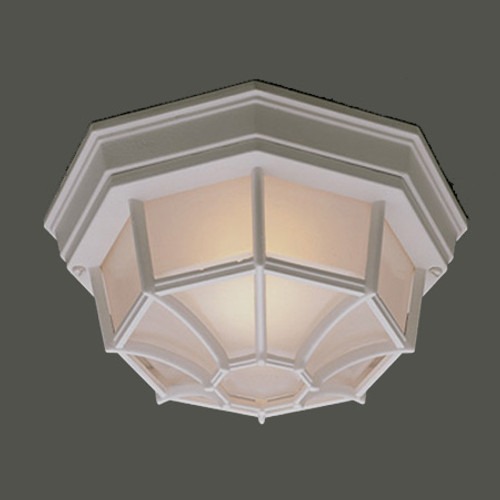 One-light die-cast aluminum outdoor ceiling fixture in White finish with frosted glass. SL7458