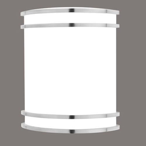 One-light fluorescent wall sconce in Brushed Nickel finish with white acrylic diffuser. 12V electron SL746078