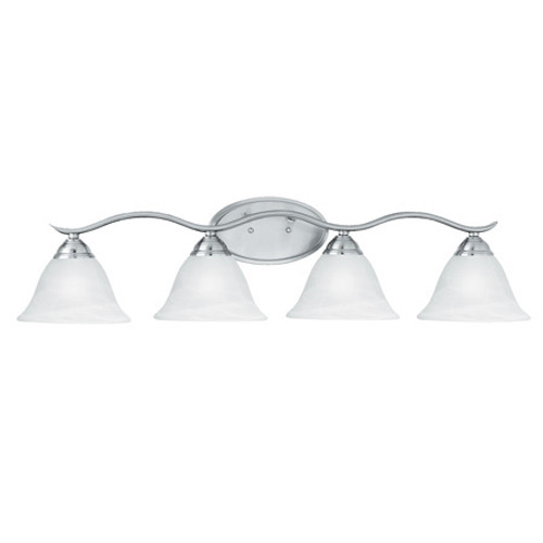 PRESTIGE 8.25in Four-light bath fixture. Oval tubing and swirl alabaster glass SL748478