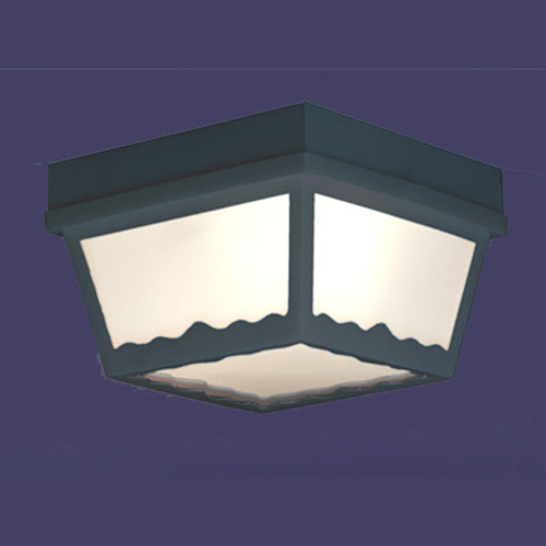 One-light matte black finish plastic outdoor ceiling light with white plastic diffuser. SL7577