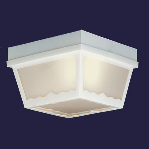 One-light white finish plastic outdoor ceiling light with white plastic diffuser. SL7578