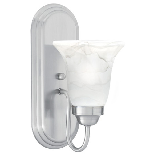 Transitionally styled one-light wall sconce in Brushed Nickel finish with swirl alabaster style glass SL758178