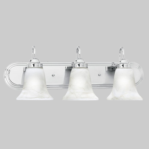 Transitionally styled three-light bath fixture in Chrome finish with swirl alabaster style glass. SL75834