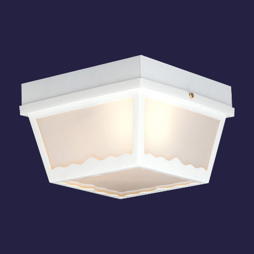 Two-light white finish plastic outdoor light with white plastic diffuser. SL7598