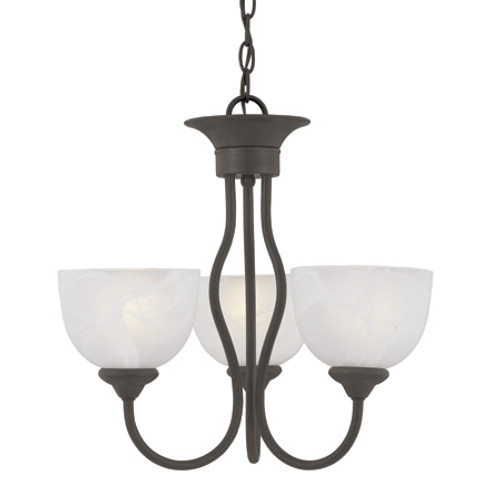 Three-light chandelier in Painted Bronze finish with alabaster style glass shades SL801463