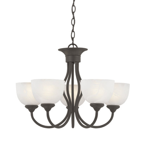 Five-light chandelier in Brushed Nickel finish with alabaster style glass shades SL801578