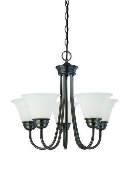 Bella 19.5in Five-light chandelier in Oiled Bronze finish with etched glass. SL805115