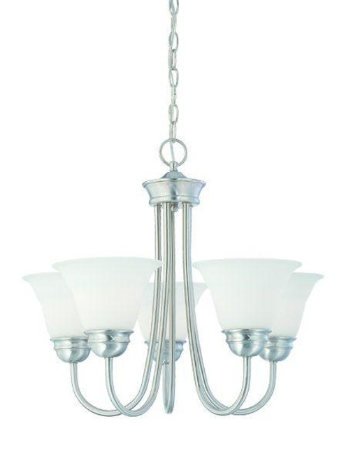 Bella 19.5in Five-light chandelier in Brushed Nickel finish with etched glass. SL805178