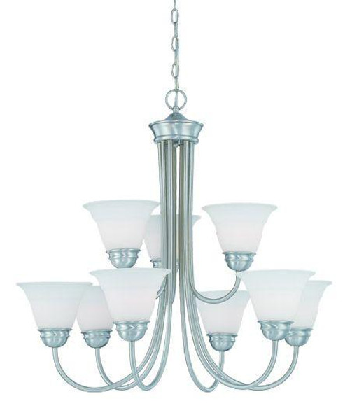 Bella 28.5in Nine-light chandelier in Brushed Nickel finish with etched glass. SL805278