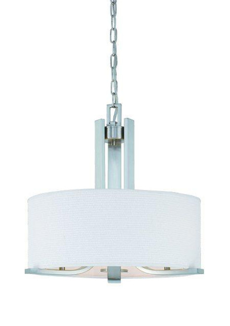Three-light chandelier in Brushed Nickel finish with white cotton weave fabric shade. SL806678