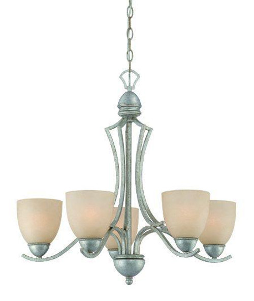 Five-light chandelier in Moonlight Silver finish with tea stained glass. SL808272