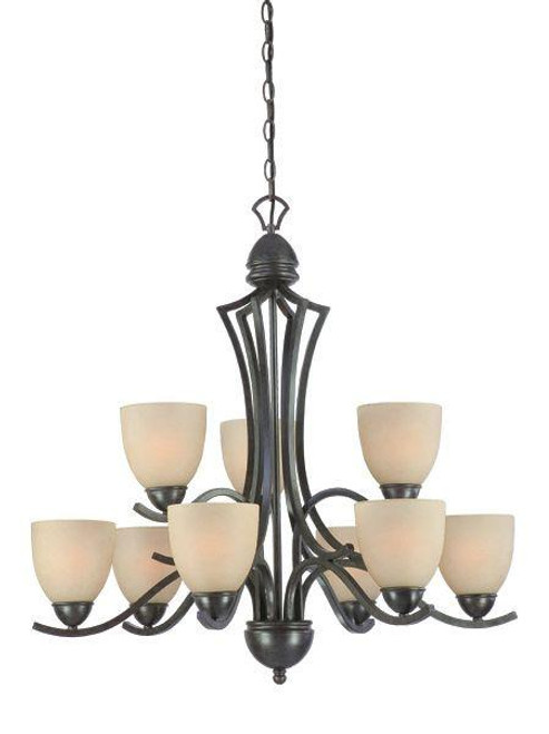 Nine-light chandelier in Sable Bronze finish with tea stained glass. SL808322