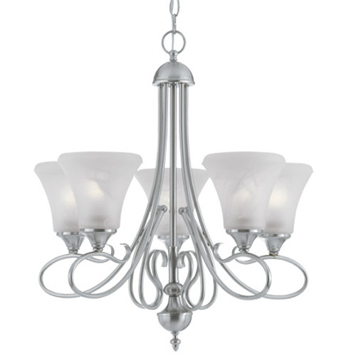 Five-light chandelier in Brushed Nickel Finish with swirl alabaster style glass shades. SL811578