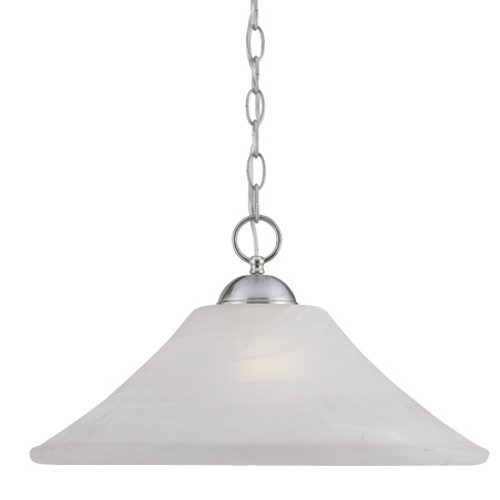 One-light pendant in Brushed Nickel Finish with swirl alabaster style glass. SL820078
