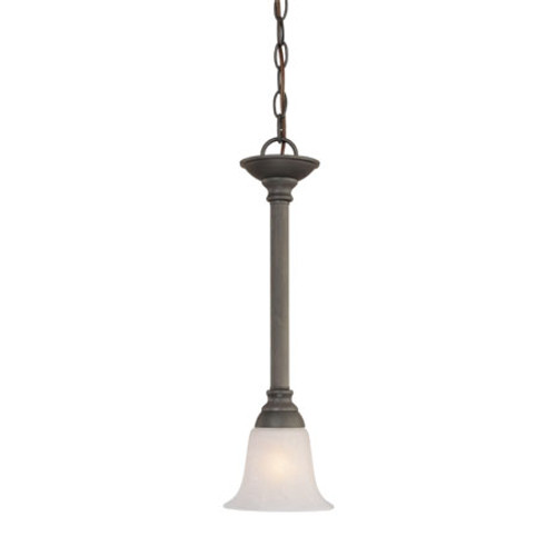 One-light mini-pendant in Brushed Nickel finish with etched swirl alabaster style glass. SL820678