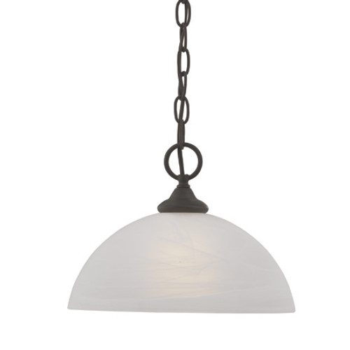 One-light pendant in Painted Bronze finish with alabaster style glass shade SL823463
