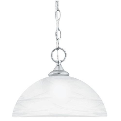 One-light pendant in Brushed Nickel finish with alabaster style glass shade SL823478
