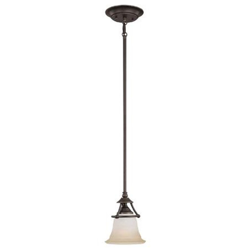 One-light mini-pendant in Aged Bronze finish with painted champagne marble glass. SL825662