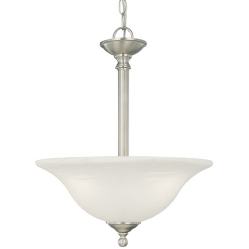 Three-light pendant in Brushed Nickel finish with etched alabaster style glass. SL826678