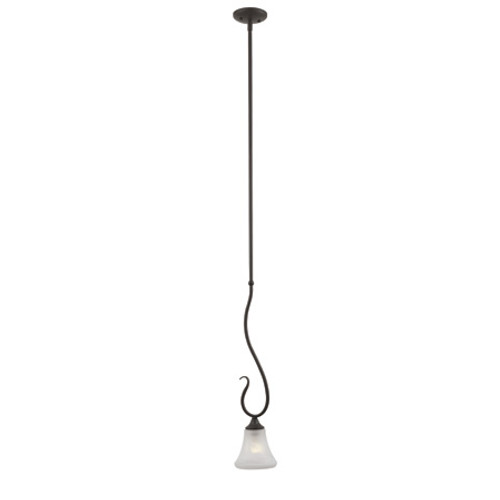 One-light mini-pendant in Painted Bronze Finish with swirl alabaster style glass. SL829163