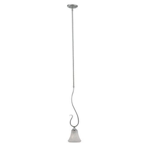 One-light mini-pendant in Brushed Nickel Finish with swirl alabaster style glass. SL829178