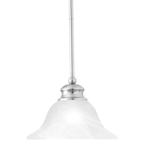One-light pendant in Brushed Nickel finish. Alabaster style glass shade. SL829678