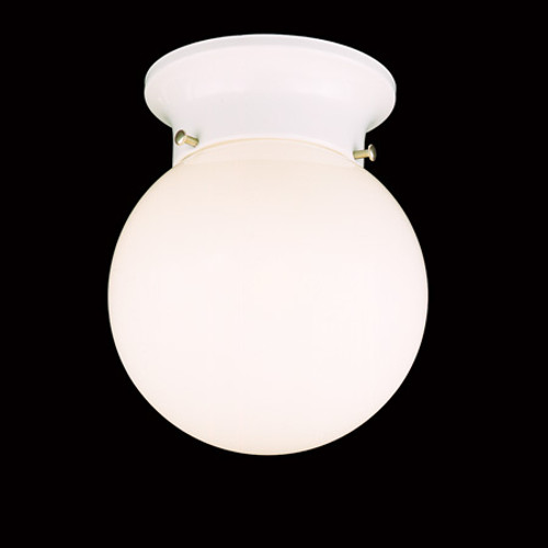 One-light ceiling fixture with white glass globe in a white finish. SL84368