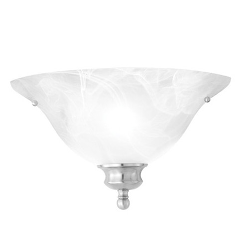 One-light ADA compliant wall sconce in Brushed Nickel finish with alabaster style glass. SL853178