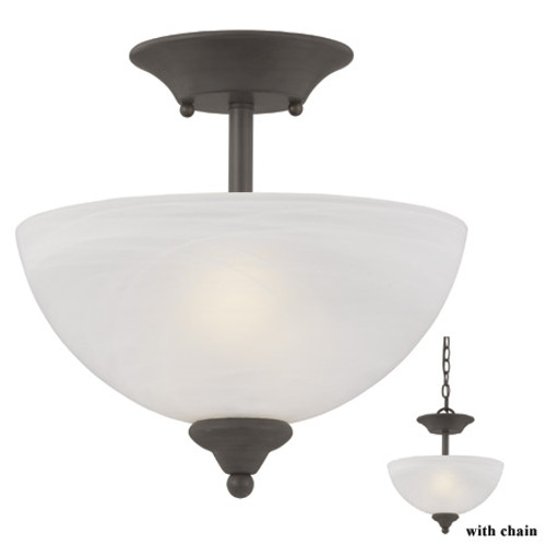 Two-light semi-flushmount or chain-hung fixture in Painted Bronze finish with alabaster style glass SL861463