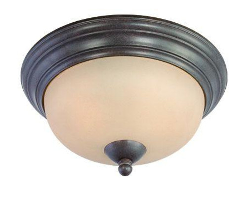 Two-light Flushmount in Sable Bronze finish with tea stained glass. SL861522