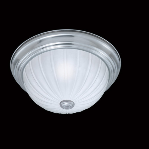 One-light ceiling fixture in a Brushed Nickel finish with etched melon glass SL868178