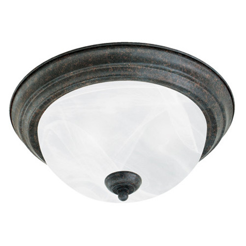 Two-light ceiling mount fixture in Sable Bronze finish. Etched alabaster style glass SL869222