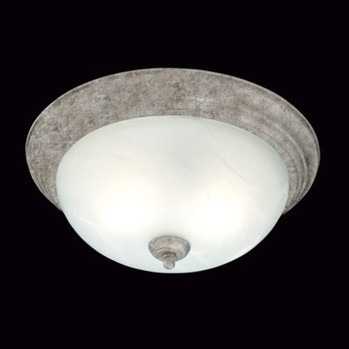 Two-light ceiling mount fixture in Painted Bronze Finish. Etched alabaster style glass SL869263