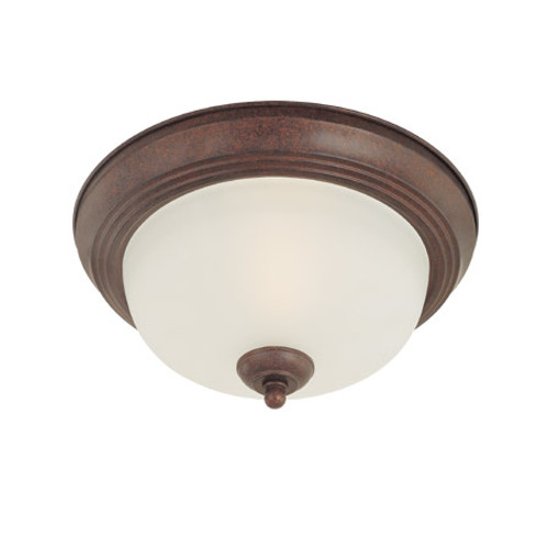 One-light Oiled Bronze finish flushmount with etched glass. SL878115