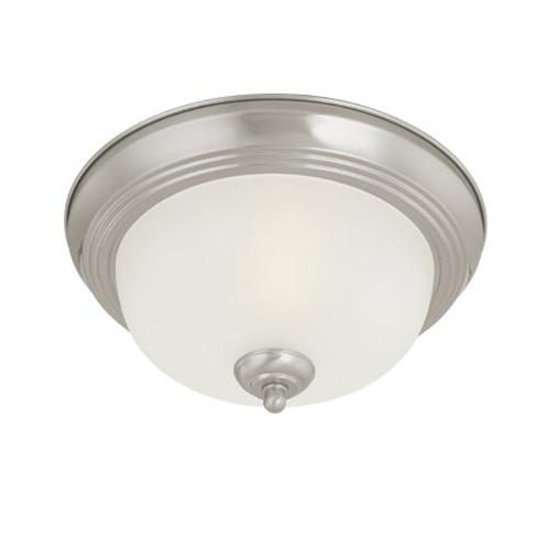 One-light Brushed Nickel finish Flushmount with etched glass. SL878178