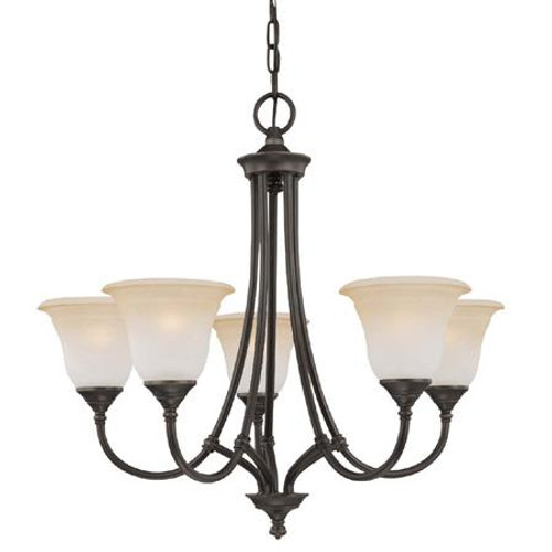Five-light chandelier in Aged Bronze finish with painted champagne marble glass. SL880162