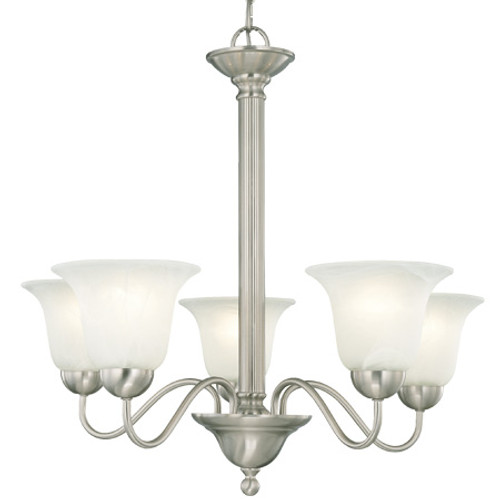 Five-light chandelier in Brushed Nickel finish with etched alabaster style glass. SL881178