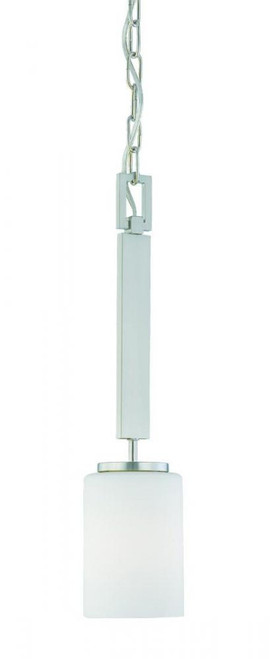 Pendenza 20in One-light pendant in Brushed Nickel finish with etched glass SL891078