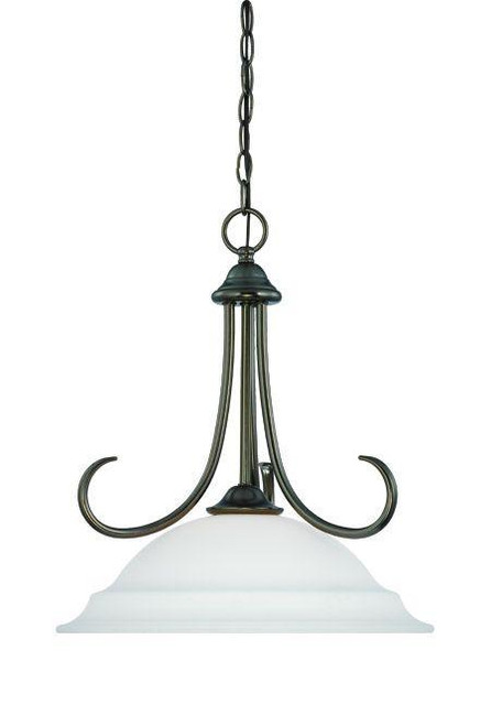 Bella 18in One-light pendant in Oiled Bronze finish with etched glass SL891615